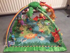 Fisher price rainforest light and musical baby playmat gym