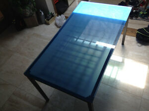 Double decker Designer blue frost glass dinning or office table