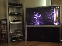 """56"""" Toshiba TV and large Steel and Glass Shelf Tower"""