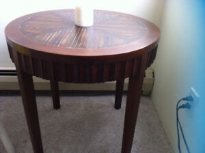 "Small round table antique 24"" wide 24"" high walnut reddish tone"