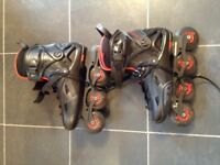 Black and red used rollerblades