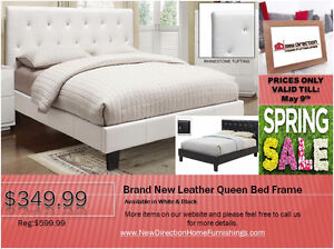 ◆Brand New Leather Qn/Db Bed Frame No Box Spring Required@NEWD
