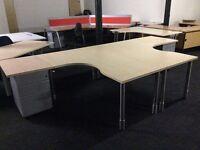 Two light oak L/shape desks with matching pedestals