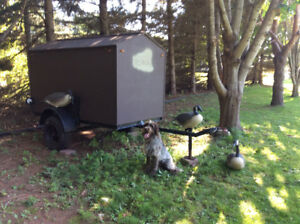 Trailer and goose decoys