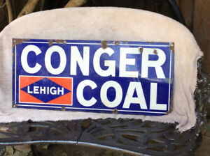 "RARE 1940's ""CONGER COAL LEHIGH"" enamel advertising sign !"