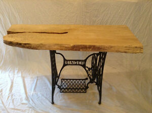 Antique treadle sewing base maple slab live edge table tops