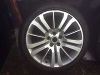 Range rover alloy wheels with tyres.