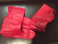 Ukrainian dance boots and slippers - red and natural