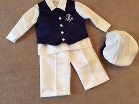 Brand new blue white sailor christening outfit formalwear baby boy