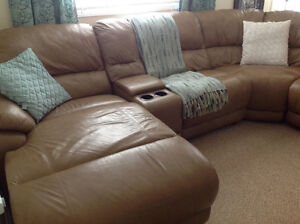 Leather 5 piece sectional
