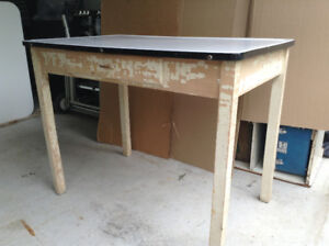 antique kitchen table with enamel top