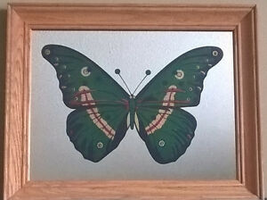 Vintage Colorful Butterfly Mirror Picture Frame/ Wall Hanger