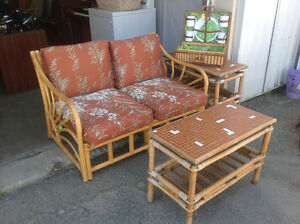 Bamboo Love seat and two side tables