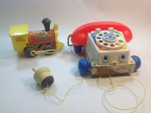 Vintage Fisher Price Wooden Toys Lot Train Telephone 1961
