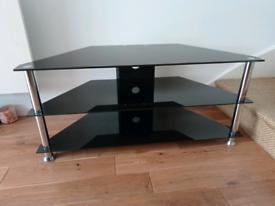 Black Glass Corner TV Stand 106cm