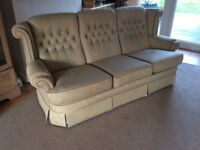 IMMACULATE CONDITION SOFA 3 SEATER PALE GREEN AND GOLD