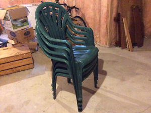 Four green plastic deck chairs Stratford Kitchener Area image 1