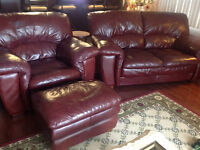 Love-seat & chair with ottoman