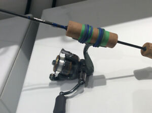 Canne à pêche sur glace tuned up custom rod + shimano 500