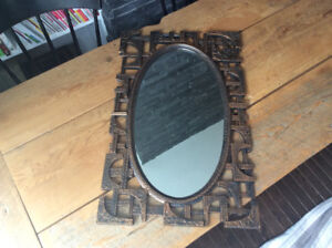 Mid Century Brutalist Coppercraft Guild Rectangular Oval Mirror