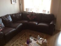 L shaped corner leather sofa