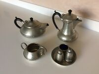 Pewter tea set with condiments vintage