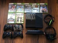 Xbox 360 plus Kinnect, plus headsets, plus 4 controllers, plus games.