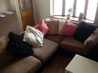 5 piece leather and upholstered lounge settee suite