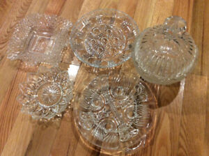 Glass serving dishes.