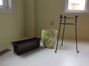 Planters and a plant stand
