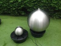 Stainless steel sphere water feature with led