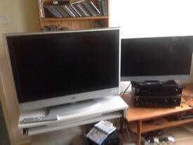 2 flat screen televisions JVC and SONY