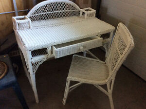 Wicker Vanity and Chair - Osoyoos