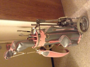 Ladies left hand golf clubs with wheeled bag