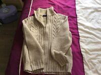 Mans large size cream zip front cardigan