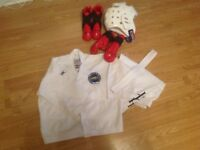Tae Kwon Do uniform & protective gear, head gear, gloves & boots age 4-8 years