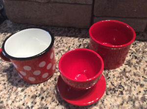 Red Kitchen Items Butter Bell  and Vtg. Tin Cup
