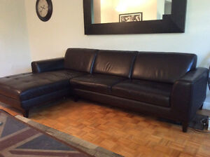 Urban Barn Leather Couch Mint Condition Right Side Chaise