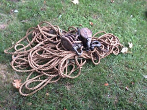 Antique Wood Pulley's With Large Hemp Rope