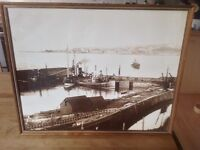 Framed photograph of BANFF harbour circa 1920