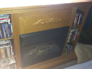 oak finish electric fireplace 250$ obo
