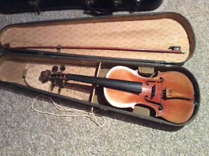 3 Old Violins with cases