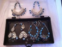 3 sets of super silver turquoise earrings