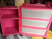 Girls Drawers and Bedside Table (Pink)(Kids)