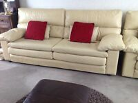 Beautiful quality soft leather sofa & chairs.