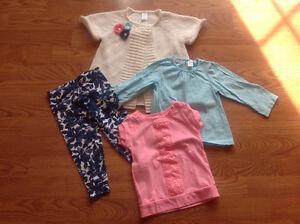 4 Piece girls set, leggings, shirts, sweater, 12-18 months
