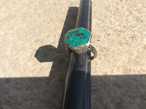 Antique vintage silver malachite wild horse ring Windsor Region Ontario image 1