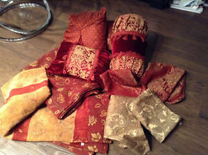 4 assorted pillows cushions,  burgandy red and gold