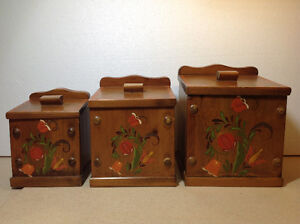 Set of 3 wood canisters/containers with hand painted florals Cambridge Kitchener Area image 1