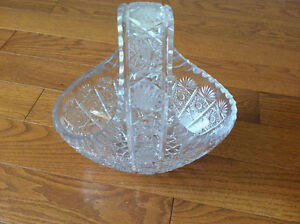 Crystal Pinwheel Candy Bowl with Handle - Never Used